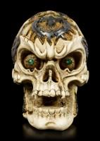 Kleiner Totenkopf mit grünen Augen