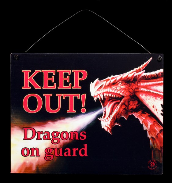 Metall Schild mit Drache - Keep Out - Dragons on guard