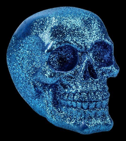 Skull - glitter blue