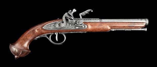 Deutsche Steinschloßpistole - silberfarben