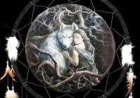 Großer Traumfänger mit Wolf - Soul Bond