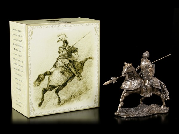 Ritter Figur auf Pferd mit Lanze - bronziert