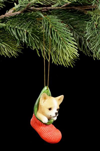 Christbaum-Schmuck Hund - Chihuahua im Strumpf