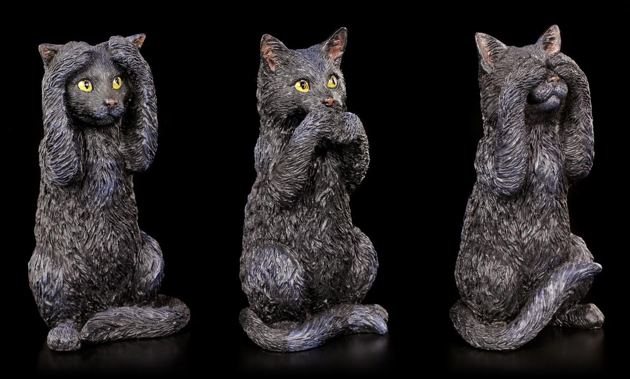 Drei weise Katzen Figuren - Nichts Böses