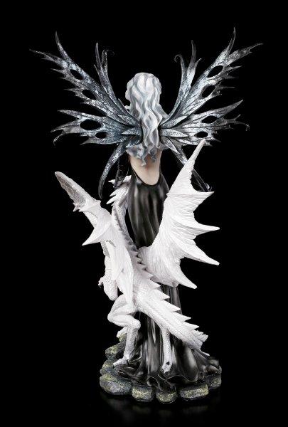 Große Elfen Figur Nathaira mit weißem Drachen
