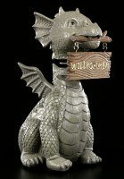 Garden Figurine - Dragon with Welcome Sign