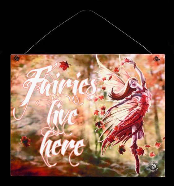 Autumn Fairy Metall Schild mit Elfe - Fairies live here