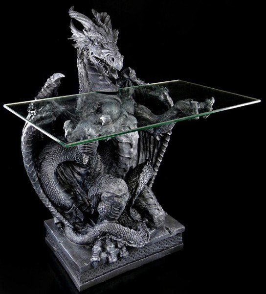 Drachentisch mit Rechteckiger Glasplatte