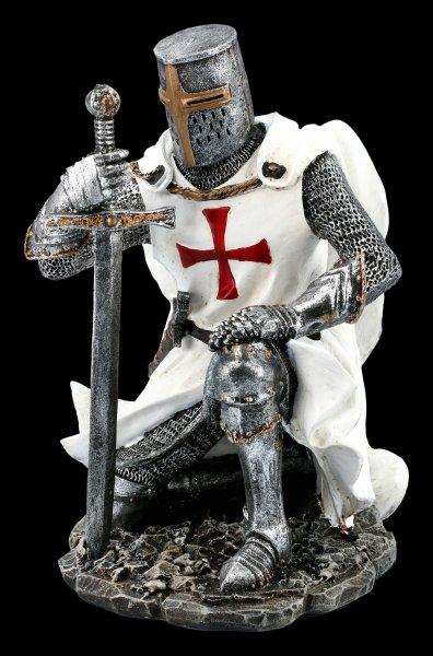 Kneeling Templar Knight Figurine with Sword