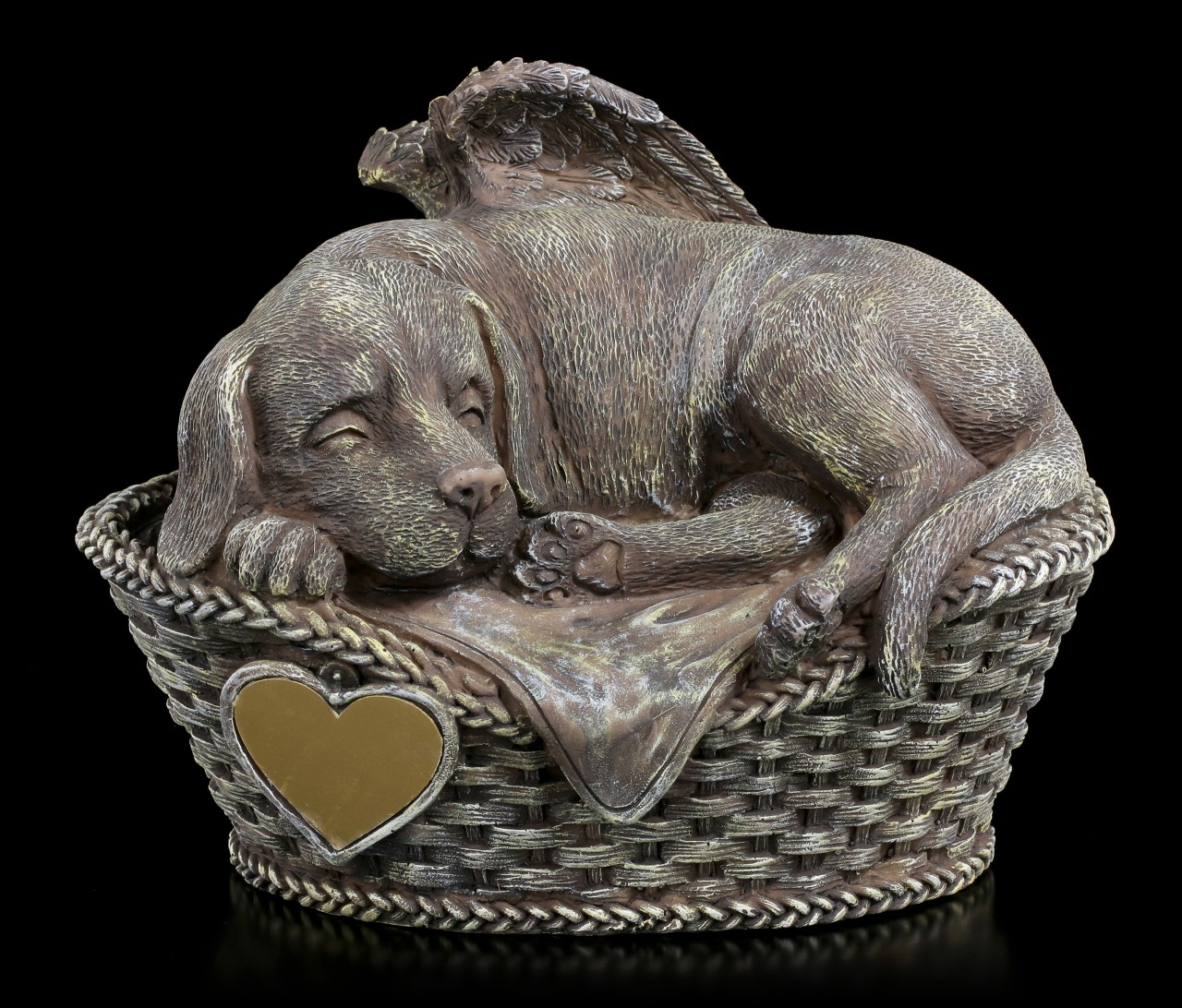 Animal Urn - Dog Angel with Gravure Plate Stonelook
