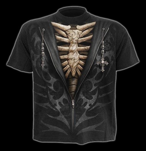 T-Shirt - Skelett Rippen - Unzipped