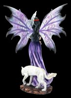 Fairy Figurine with Wolf and Owl - Amethyst Companions