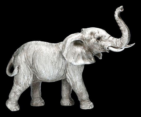 Elephant Figurine - Trunk Upwards - Antique SIlver
