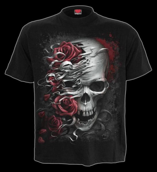 Spiral Totenkopf T-Shirt - Skull & Roses