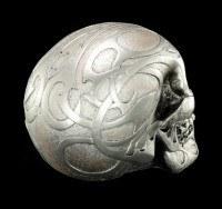 Skull - Silver colored matt with Tribals