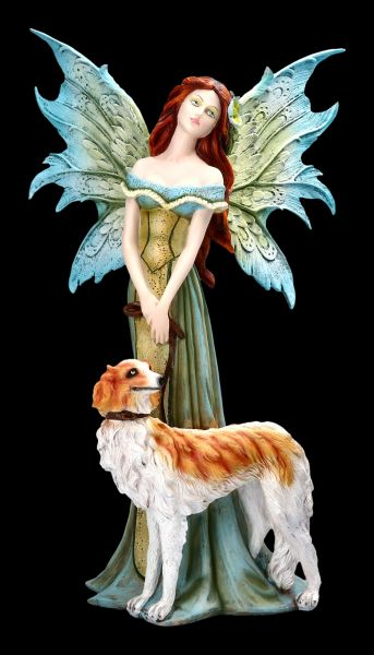 Fairy Figurine - Tanya goes for a walk with her Dog