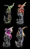 Small Dragon Figurines on Castle - Set of 4