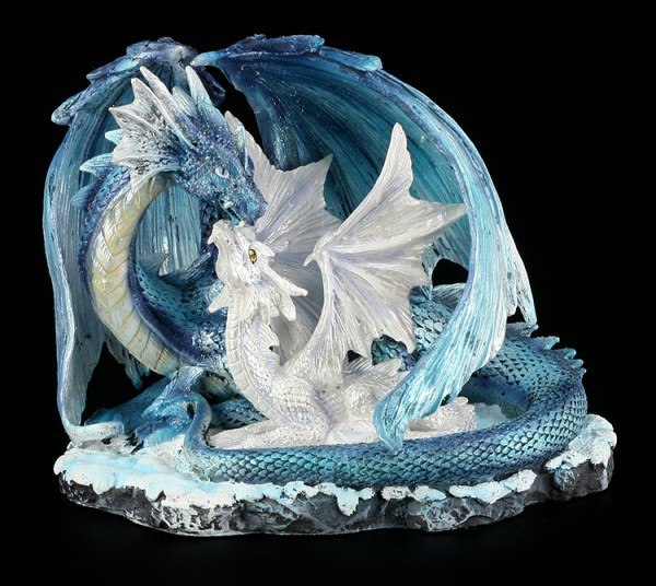 Dragon Figure - Mother with Baby white-blue
