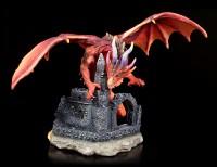 Dragon Figurine - Red Furor on Castle Ruins