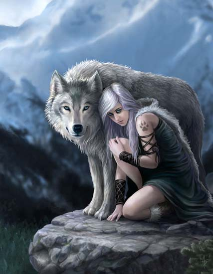Fantasy Greeting Card with Wolf - Protector