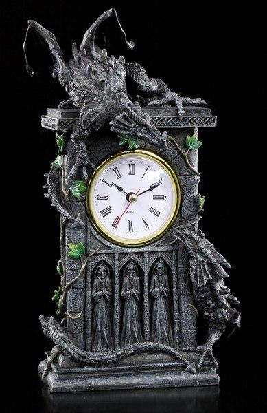 Tisch Uhr - Kämpfende Drachen