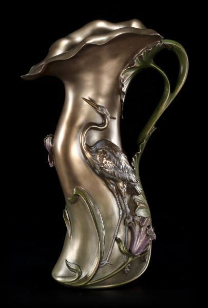 Jugendstil Vase mit Fischreiher