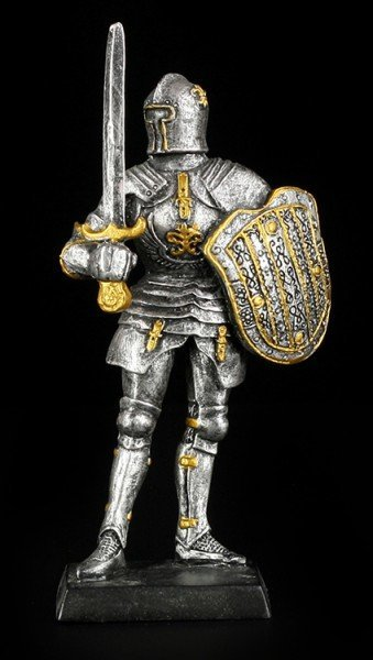 Small Knight Figure with Sword and Shield