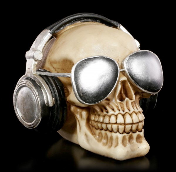 Skull with Sun Glasses and Head Phones