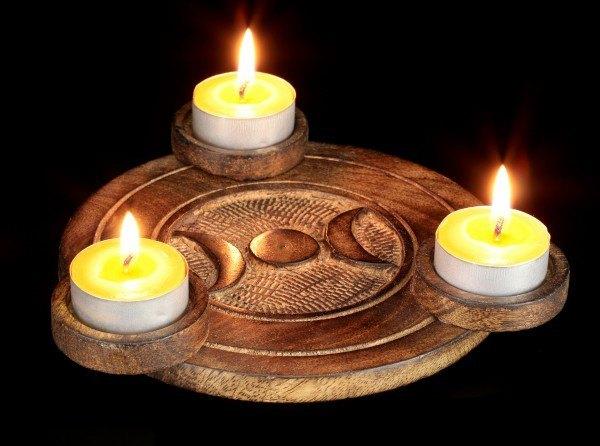 Teelichthalter Holz - Dreifache Mondgöttin