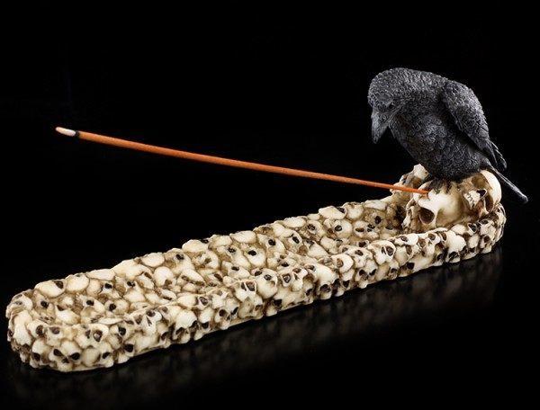 Räucherhalter - Rabe mit Totenköpfen