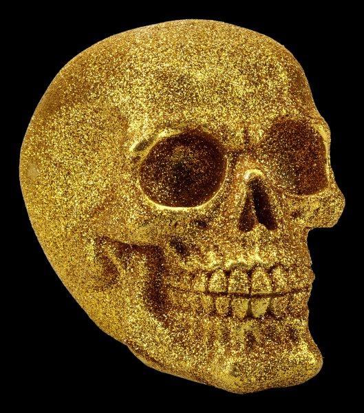 Totenkopf - Glitzer goldfarben