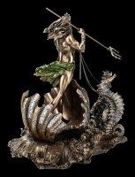 Poseidon in Meereskutsche mit Seepferdchen Figur