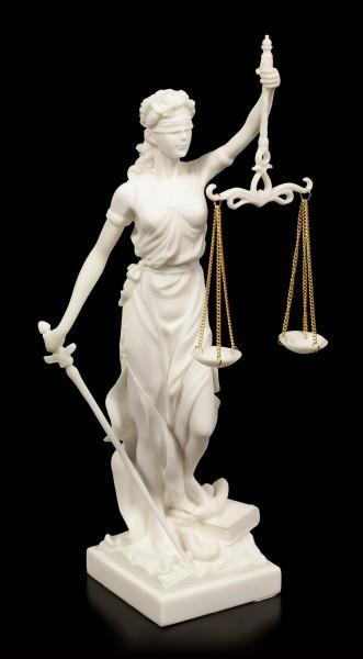 Weiße Justitia Figur - Göttin der Gerechtigkeit