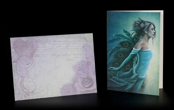 Grußkarte - Engel mit Pfauenfedern inkl. Umschlag
