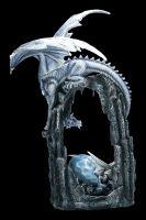 Große Drachen Figur - Schneedrache mit Jungem