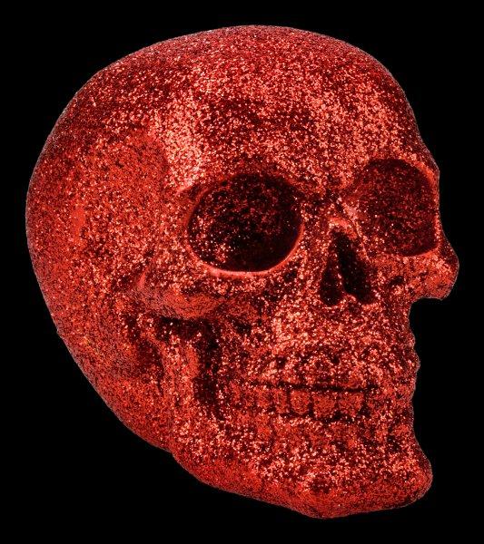 Skull - glitter red