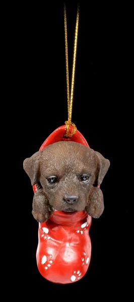 Christmas Tree Decoration Dog - Chocolate Labrador in Stocking