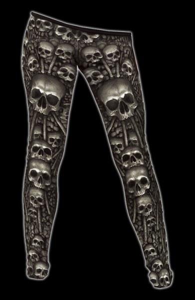 Leggings Gothic mit Totenköpfen - Catacomb