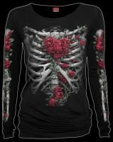 Langarmshirt Damen Gothic - Rose Bones