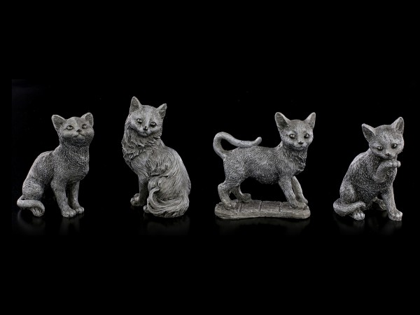 Lucky Black Cats Figurines - Set of 4