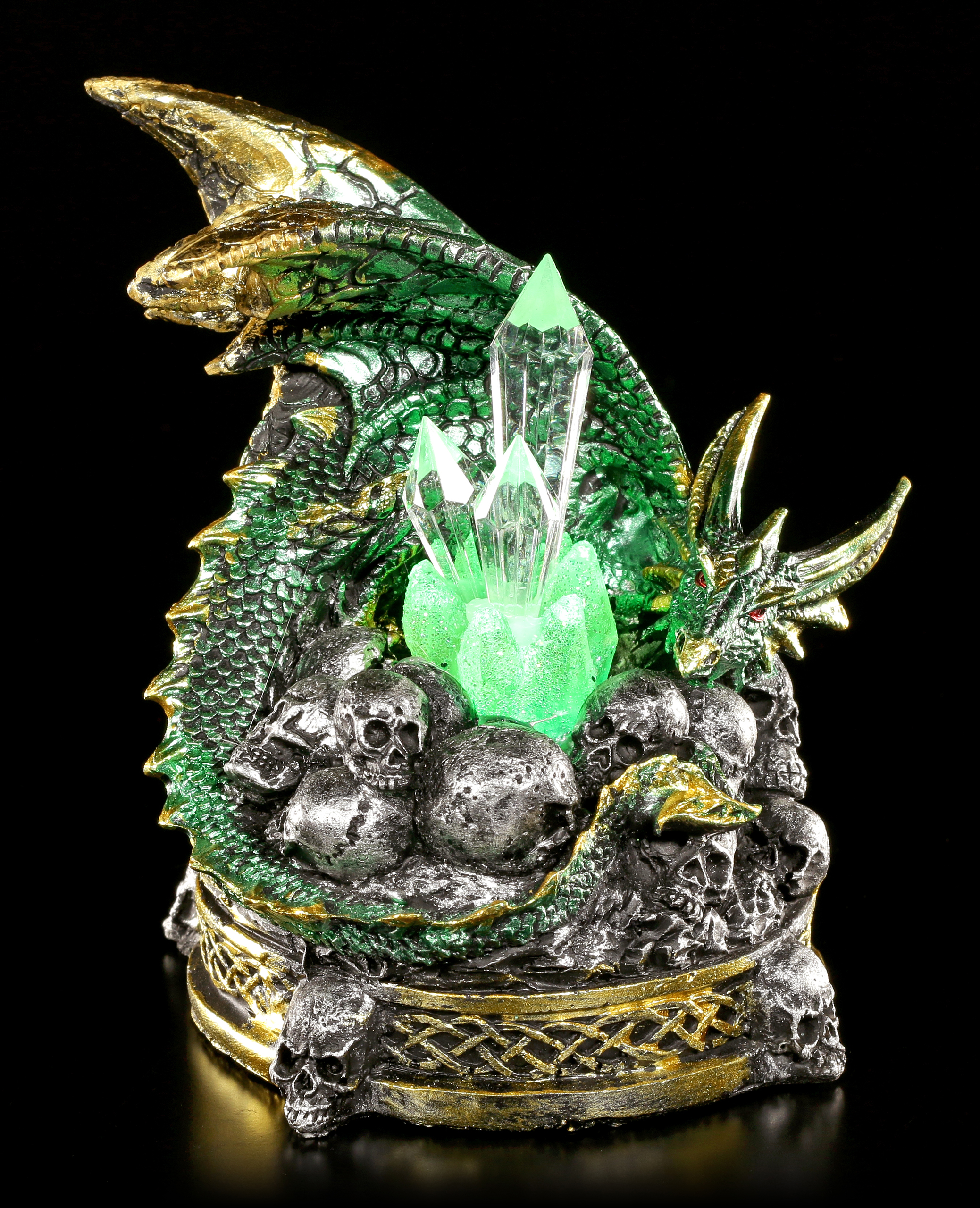 Dragon Figurine with LED Lighting The Crystal Guardian green