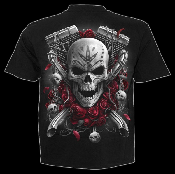 Spiral Fantasy T-Shirt - Day of the Dead Bikers