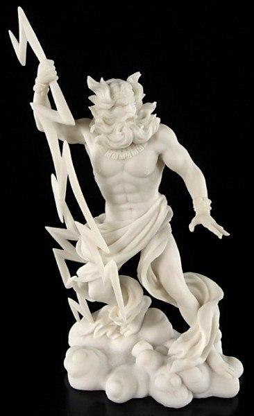Zeus Götter Figur mit Blitzen