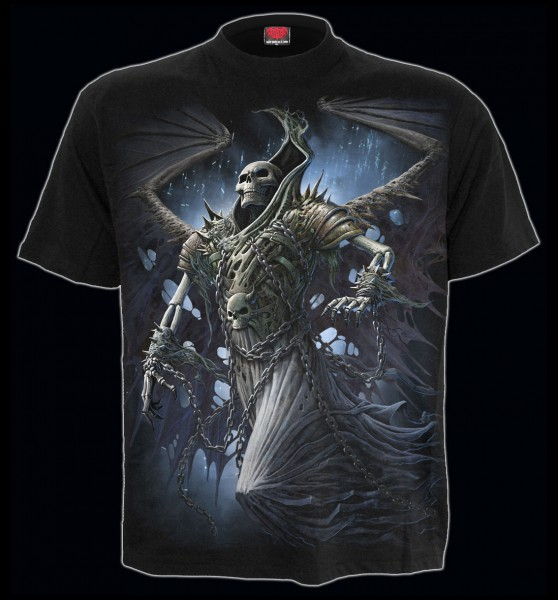 Spiral Gothic Reaper T-Shirt - Winged Skeleton