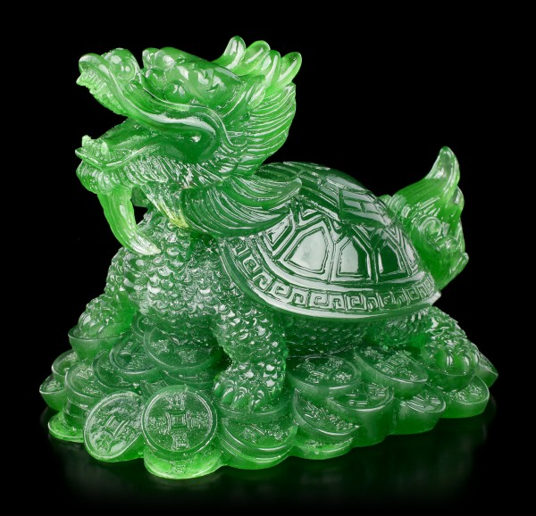 Feng Shui Figur - Drachen Schildkröte jadefarben