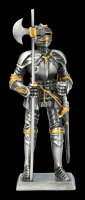 Pewter Knight Figurine with Halberd and Sword
