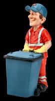 Funny Job Figurine - Sweeper with Bin