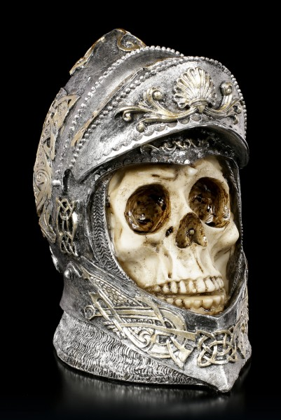 Skull in Knight Helmet with open Ventail