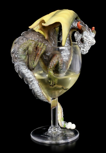 Drachen Figur im Weißwein Glas - White Wine