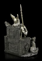 Odin Figurine - God Father on Throne with Wolves